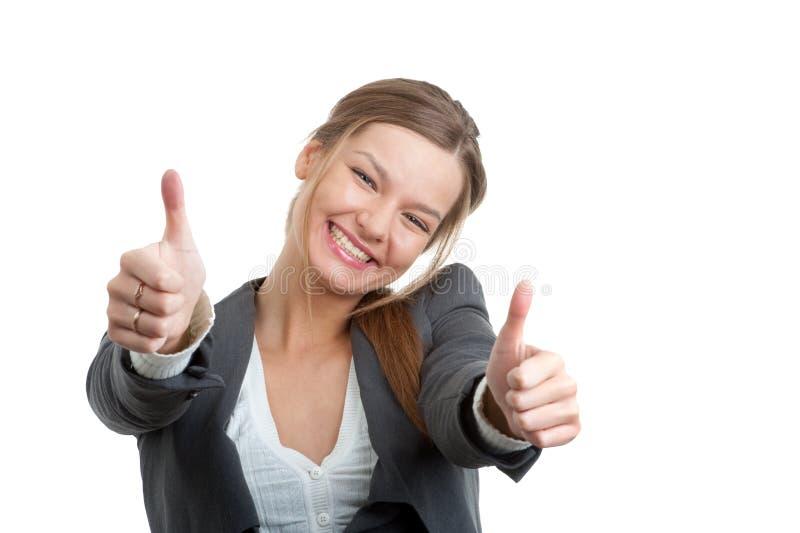 tumm det göra en gest tecknet för affären upp kvinna arkivbilder