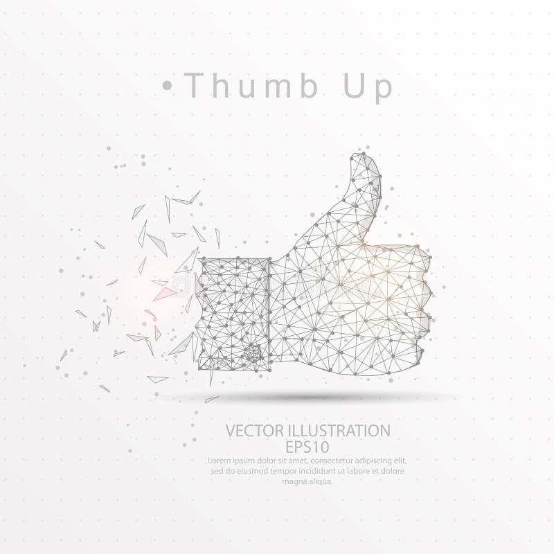 Tumma upp dragen låg poly trådram för form digitalt vektor illustrationer