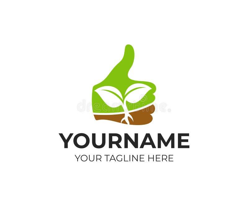 Tumma upp med grodden inom, logomallen Lantbruk och jordbruk, vektordesign royaltyfri illustrationer