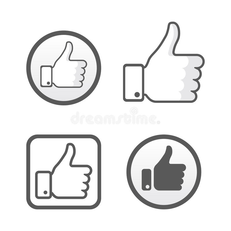 Tumma upp, som symbolsvektoruppsättning, det sociala nätverket vektor illustrationer