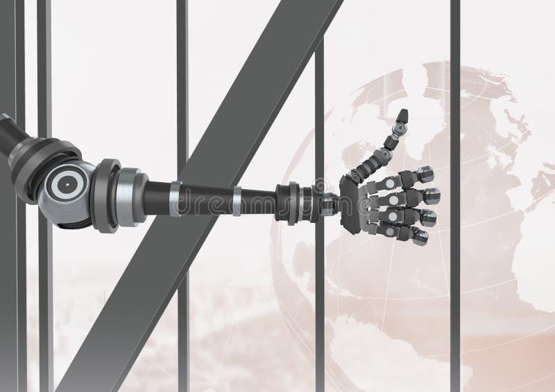 Tummar för robotAndroid hand upp vid fönstret vektor illustrationer