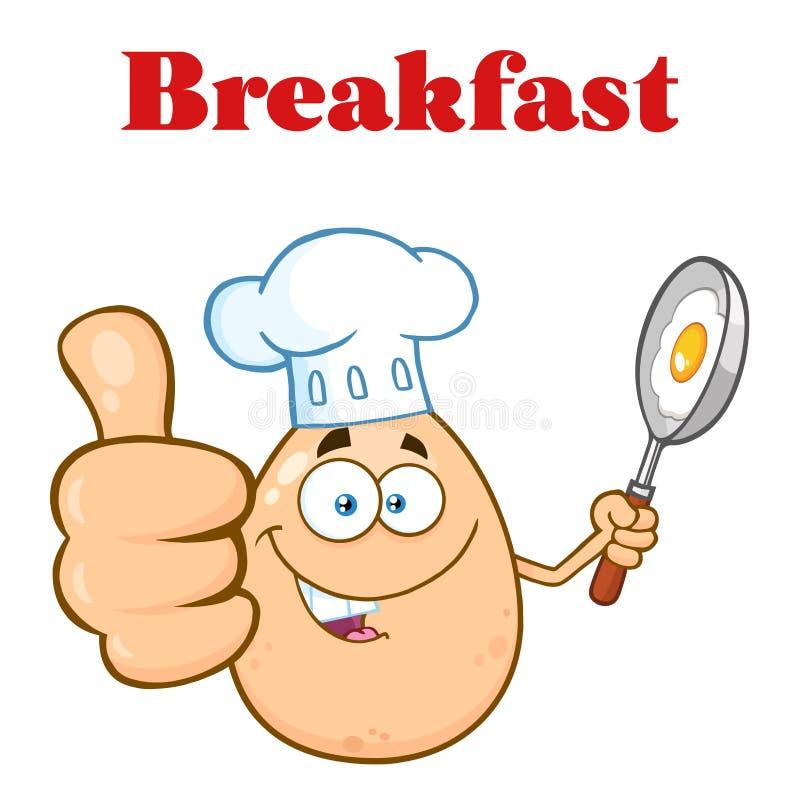 Tummar för visning för det kockEgg Cartoon Mascot teckenet Up och rymma en steka Pan With Food stock illustrationer