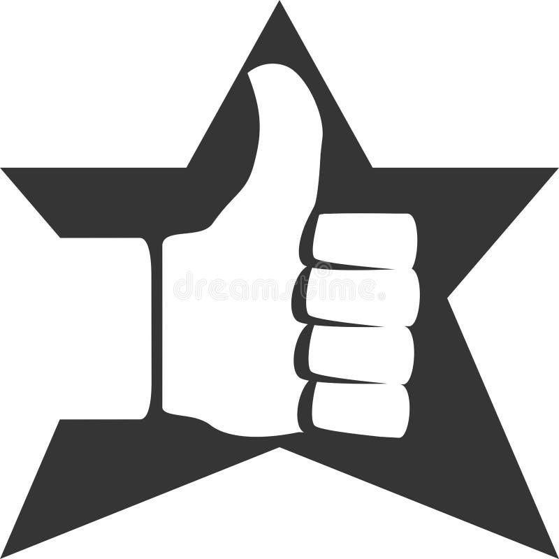 Tummar upp den positiva stjärnan godkänner objekt stock illustrationer