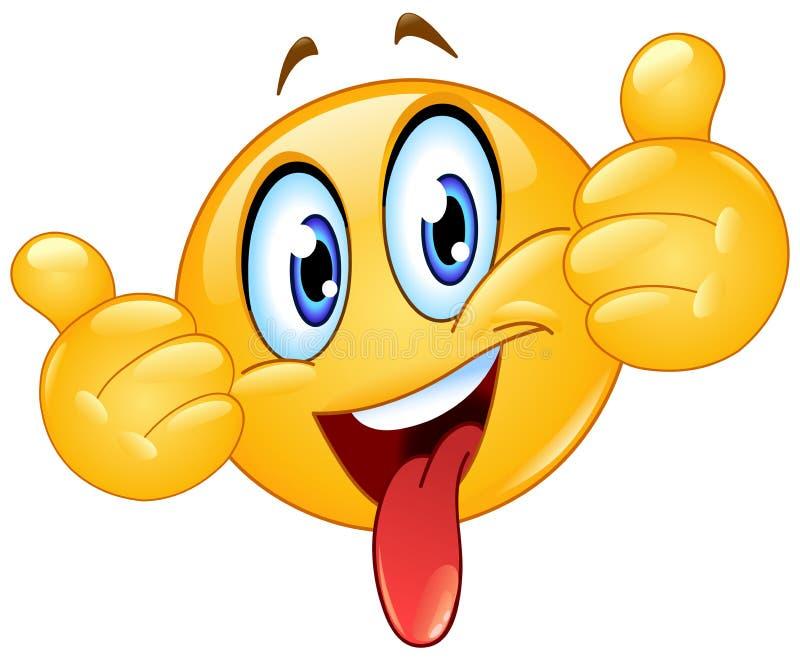 Tummar upp emoticon med tungan ut royaltyfri illustrationer