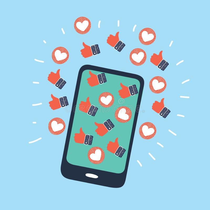 Tummar upp, förälskelse gillar, online-kommunikationen royaltyfri illustrationer
