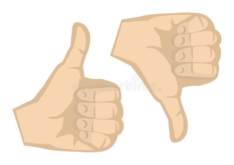Tummar upp och för tummar för handgester ner illustration för vektor stock illustrationer