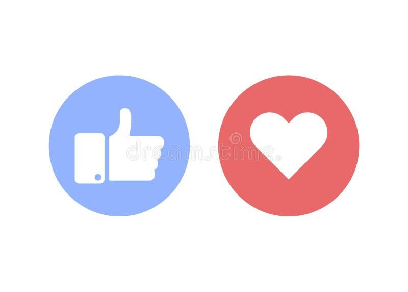 Tummar upp och hjärta Socialt vektortecken eller symbol också vektor för coreldrawillustration royaltyfri illustrationer
