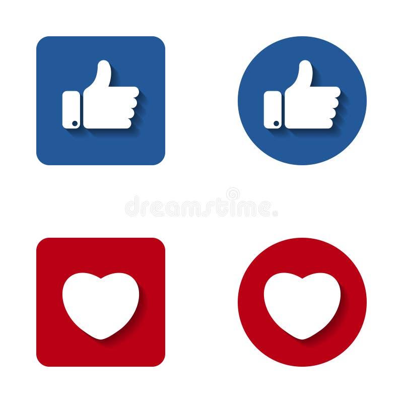 Tummar upp och hjärtaknappsymbol Som och hjärtasymbol för din webbplatsdesign, logo stock illustrationer