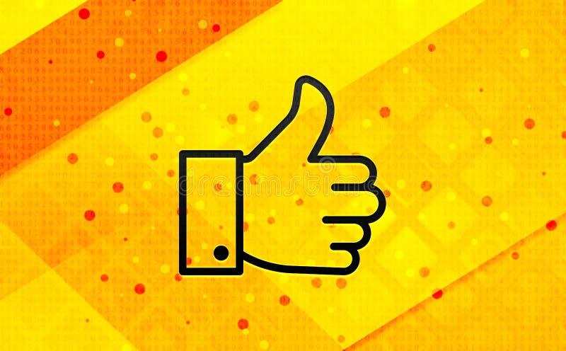 Tummar upp som bakgrund för abstrakt digitalt baner för symbol gul royaltyfri illustrationer