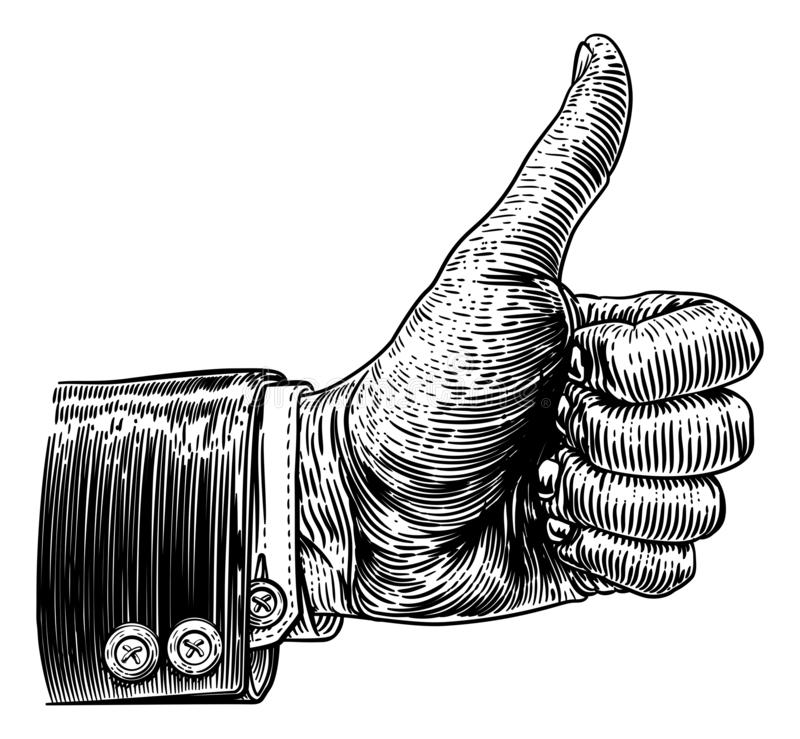 Tummar upp träsnitt för tappning för handtecken Retro royaltyfri illustrationer