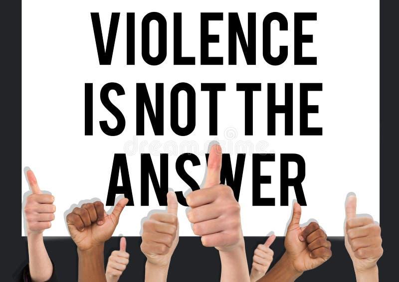 Tummar upp våld är inte svaret arkivbilder