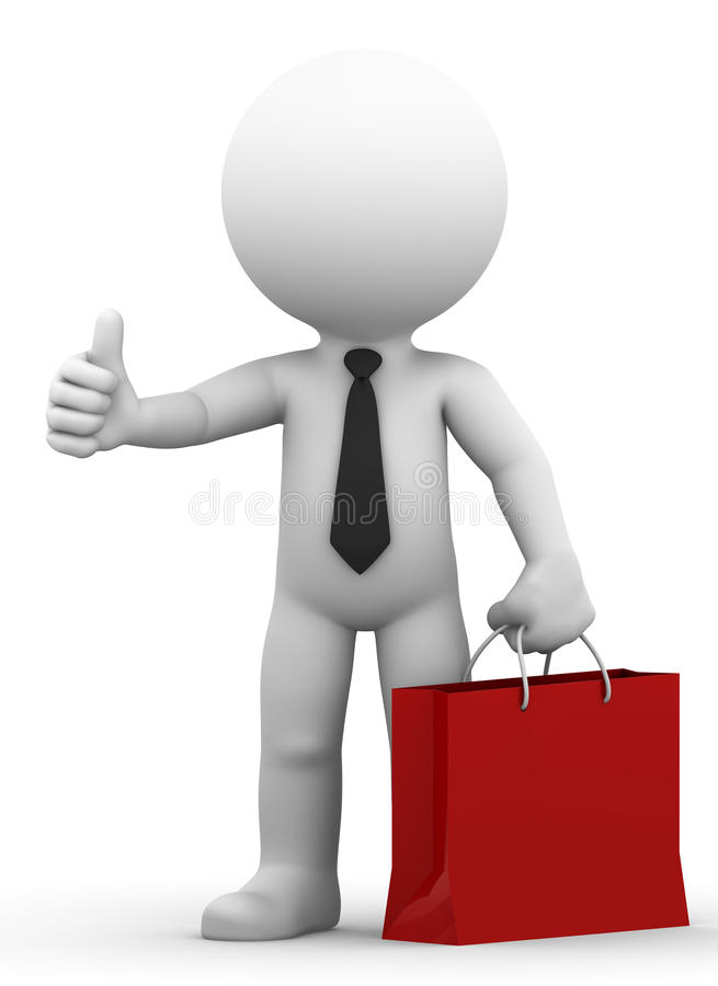 Tumme för påse och för ge sig för shopping för lycklig affärsman en hållande upp stock illustrationer