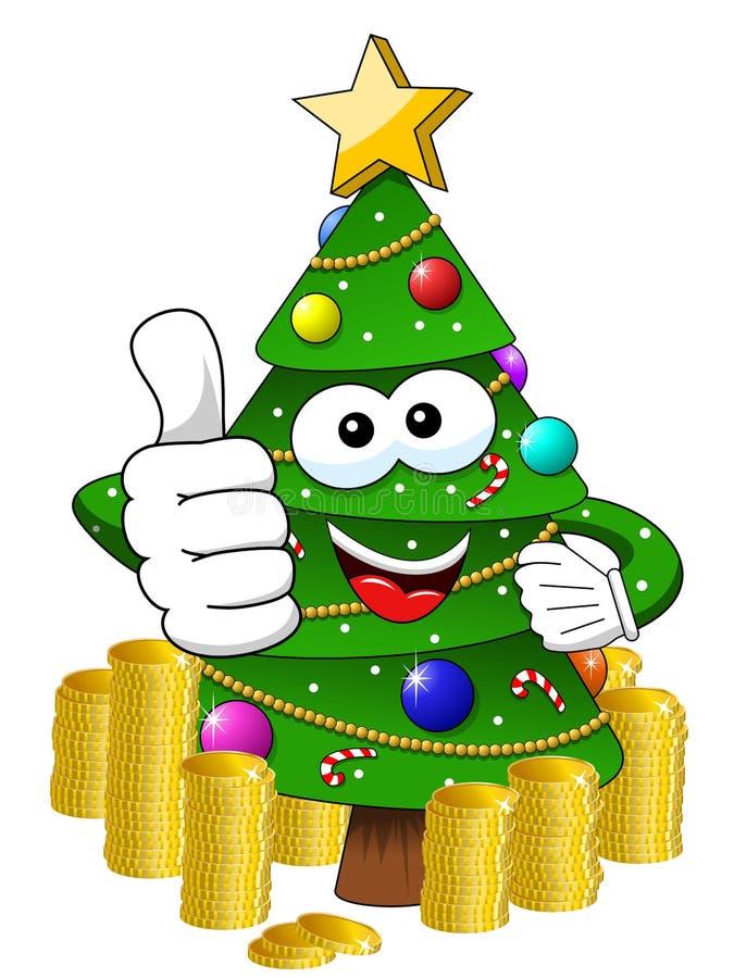 Tumme för tecken för maskot för Xmas-julträd upp pengarrikedomiso vektor illustrationer