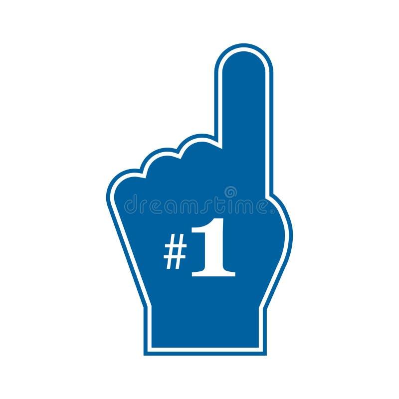 Tumme upp fan för nummer 1 Fan för nummer 1 Blått skumfinger royaltyfri illustrationer