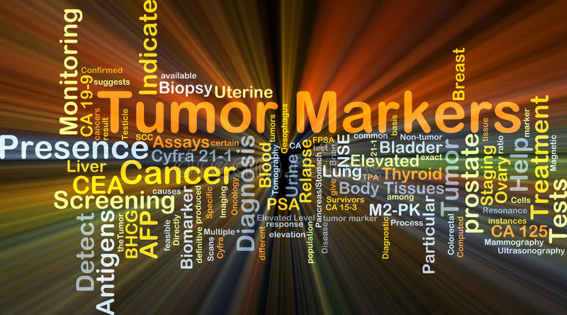 Tumor markers background concept glowing. Background concept wordcloud illustration of tumor markers glowing light stock illustration