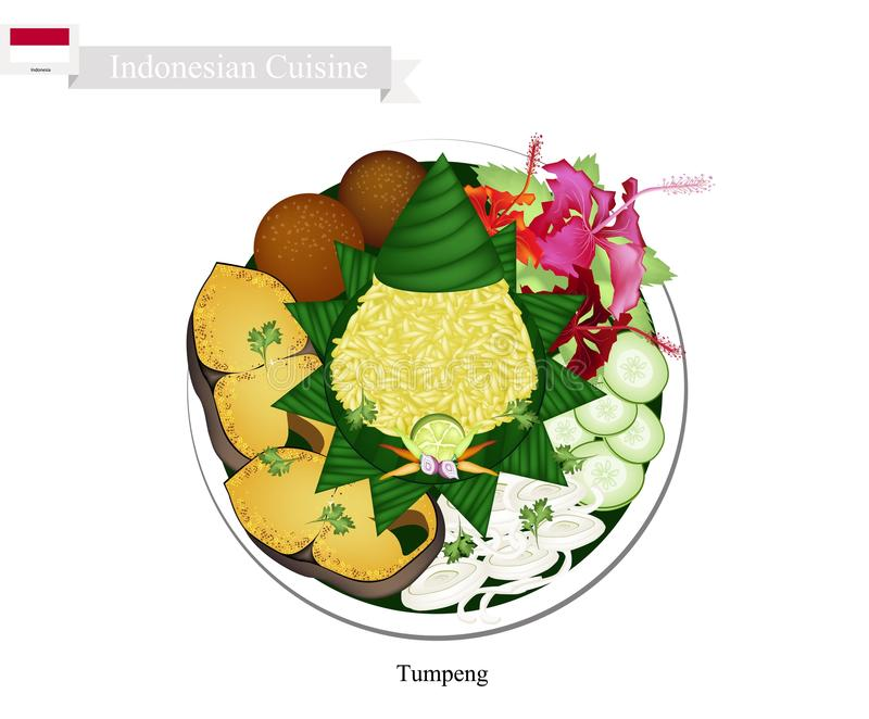 Tumpeng或印度尼西亚圆锥形的米与各种各样的印度尼西亚盘 向量例证