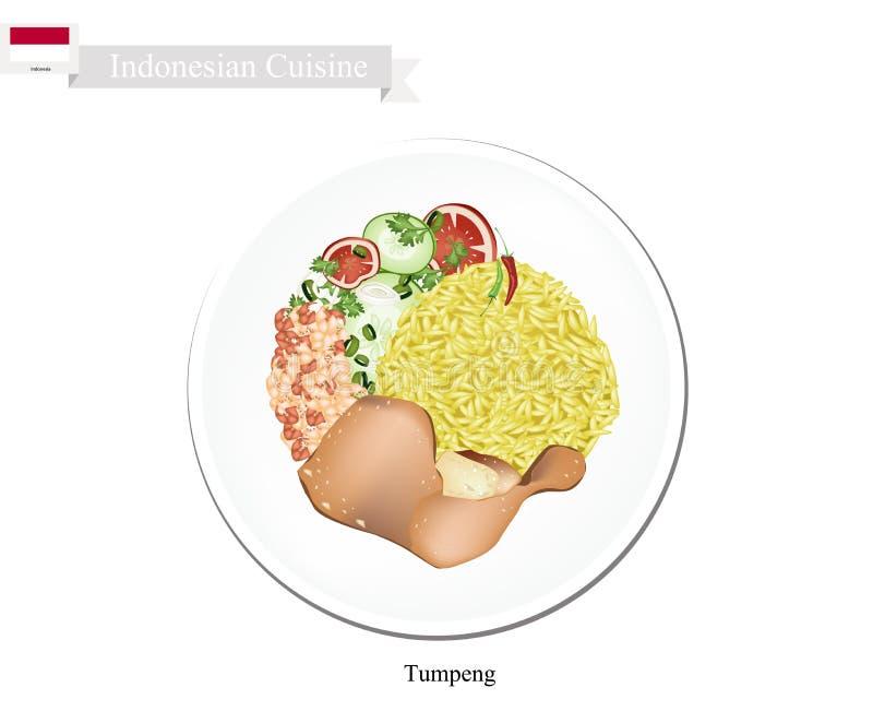 Tumpeng eller gula ris för indones med blandad indonesisk disk stock illustrationer
