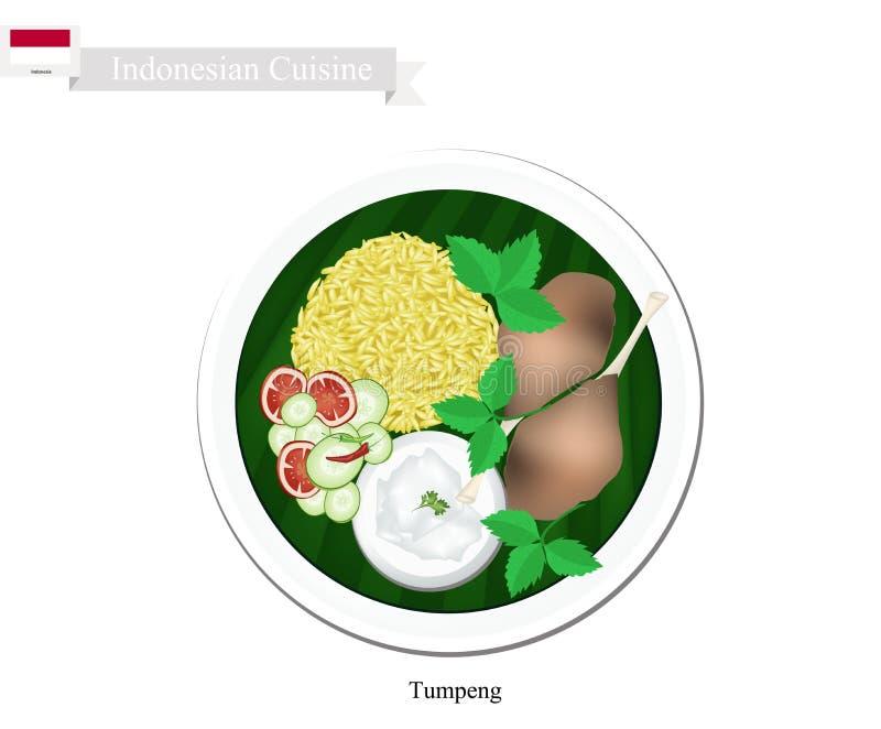Tumpeng eller gula ris för indones med Fried Chicken stock illustrationer