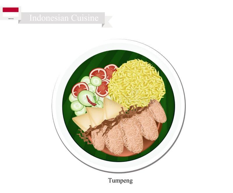Tumpeng eller gula ris för indones med olik indonesisk disk vektor illustrationer