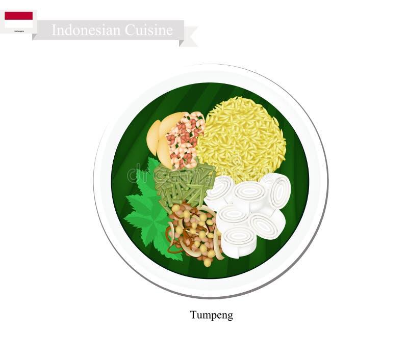 Tumpeng eller gula ris för indones med olika indonesiska Foods vektor illustrationer