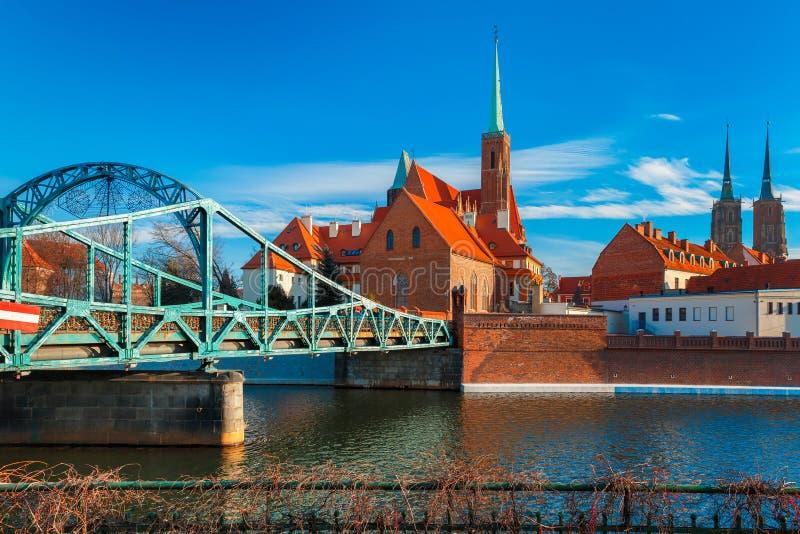 Tumski Bridge in the morning, Wroclaw, Poland stock photography