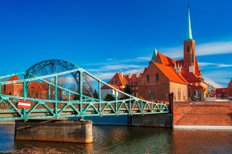 Tumski Bridge in the morning, Wroclaw, Poland stock images