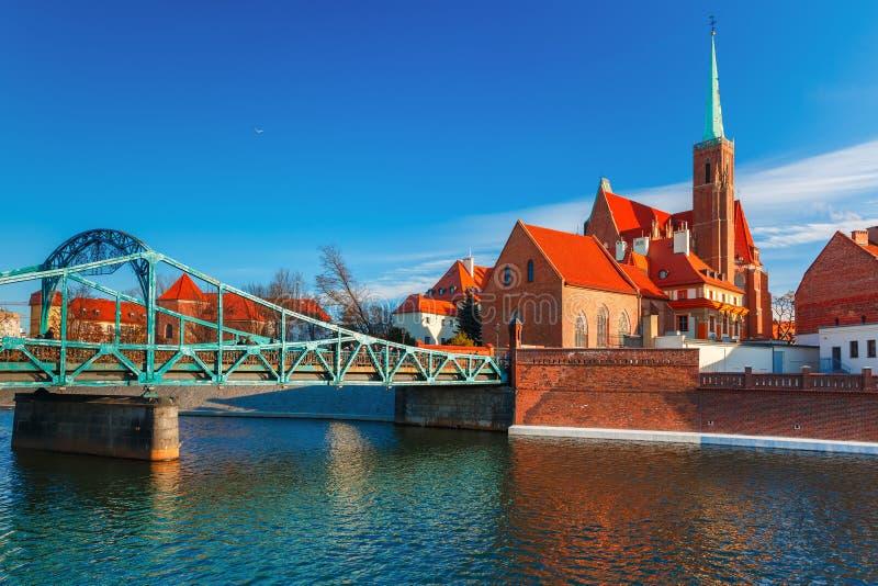 Tumski Bridge in the morning, Wroclaw, Poland stock image