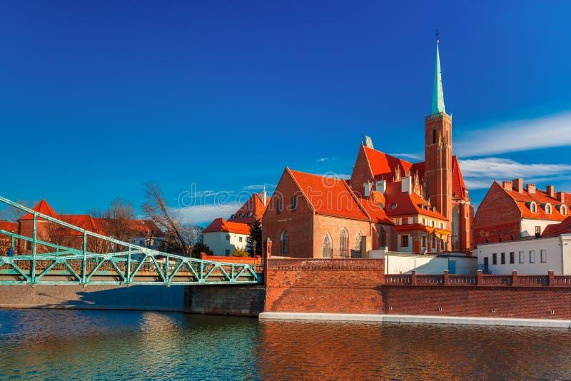 Tumski Bridge in the morning, Wroclaw, Poland royalty free stock image