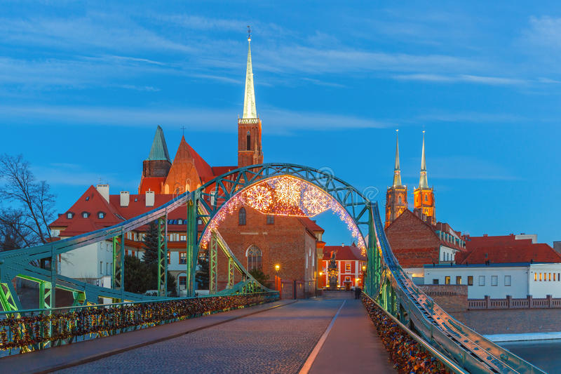 Tumski Bridge at night in Wroclaw, Poland royalty free stock photo