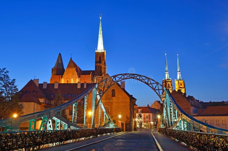 Tumski Bridge. In Wroclaw, Poland royalty free stock photo