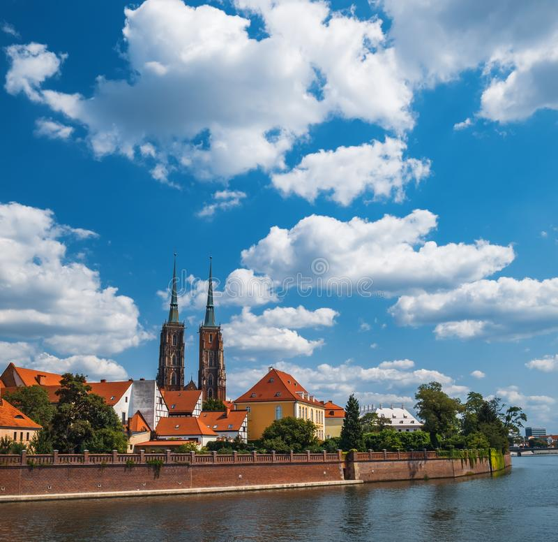 Tumski Island in Wroclaw, Poland. Famous tourist destination in Wroclaw. Cathedral Tumski Island is the oldest part of the Wroclaw, Poland royalty free stock images