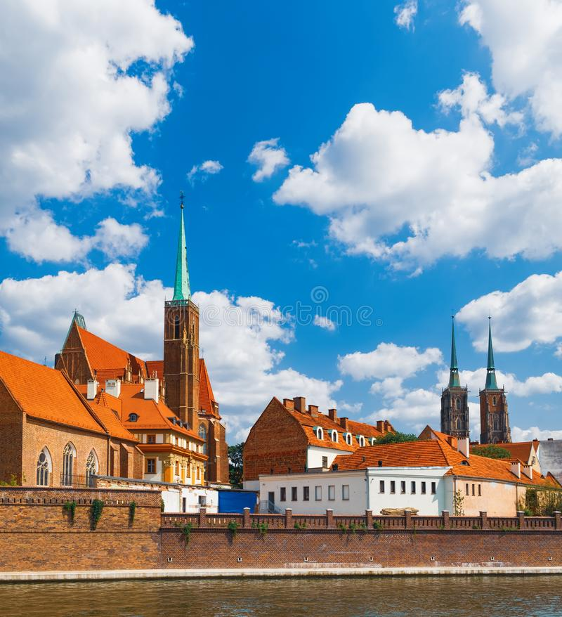 Tumski Island in Wroclaw, Poland. Famous tourist destination in Wroclaw. Cathedral Tumski Island is the oldest part of the Wroclaw, Poland royalty free stock image