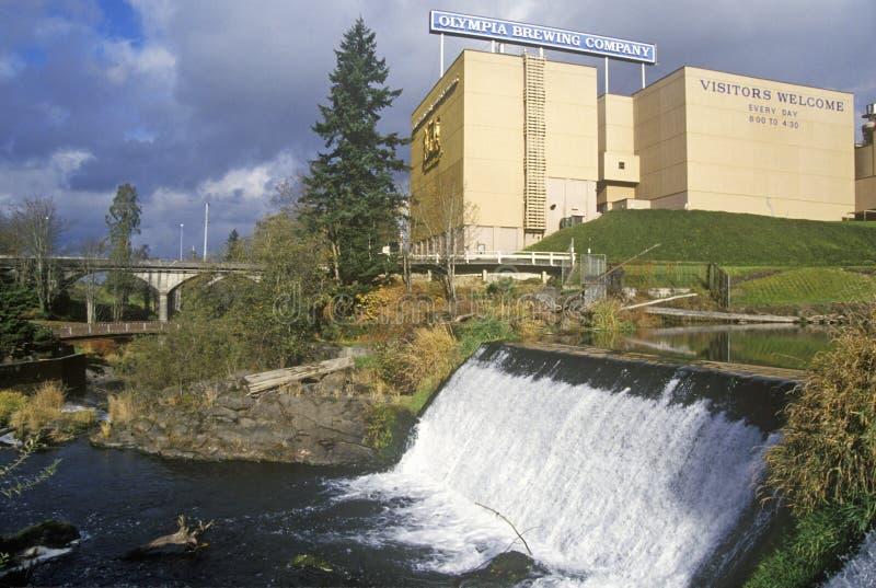 Tumwater cai parque, OU, home de Olympia Beer Brewing Company fotos de stock