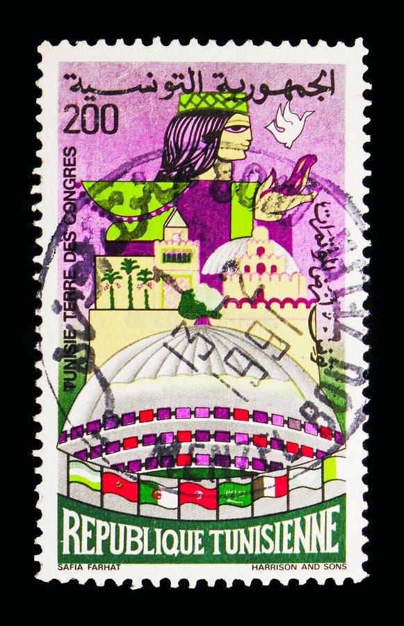 Tunísia: Terra das convenções, serie comemorativo, cerca de 1982 foto de stock