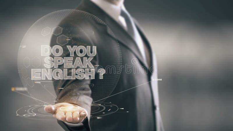 Tun Sie Ihr sprechen englische neue Technologien Geschäftsmann-Holding in der Hand stockfotografie