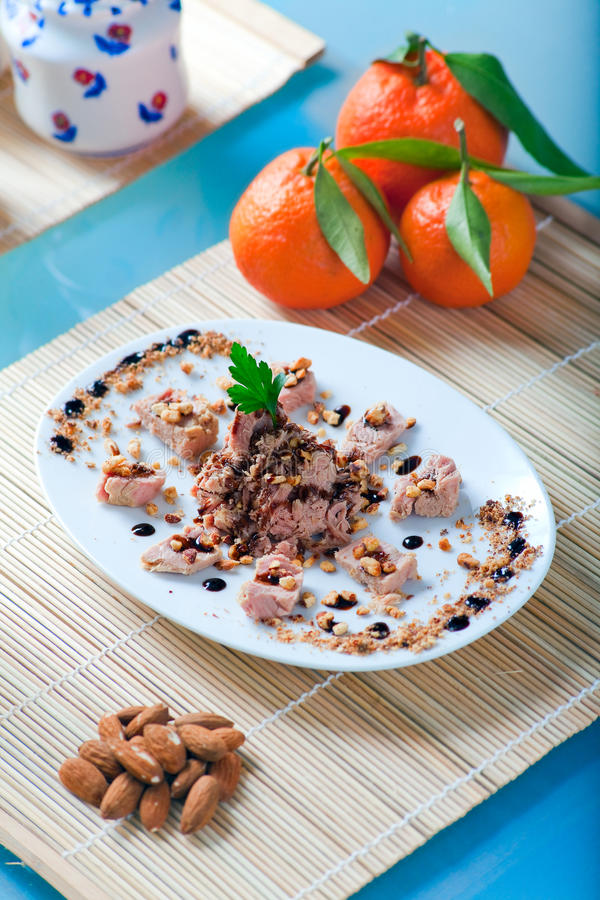 Download Tuna And Almonds With Vinegar Glaze Stock Image - Image: 12766893