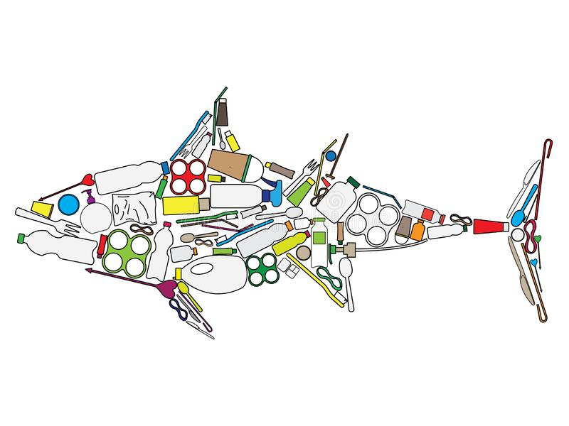 Tuna build up from plastic waste vector illustration