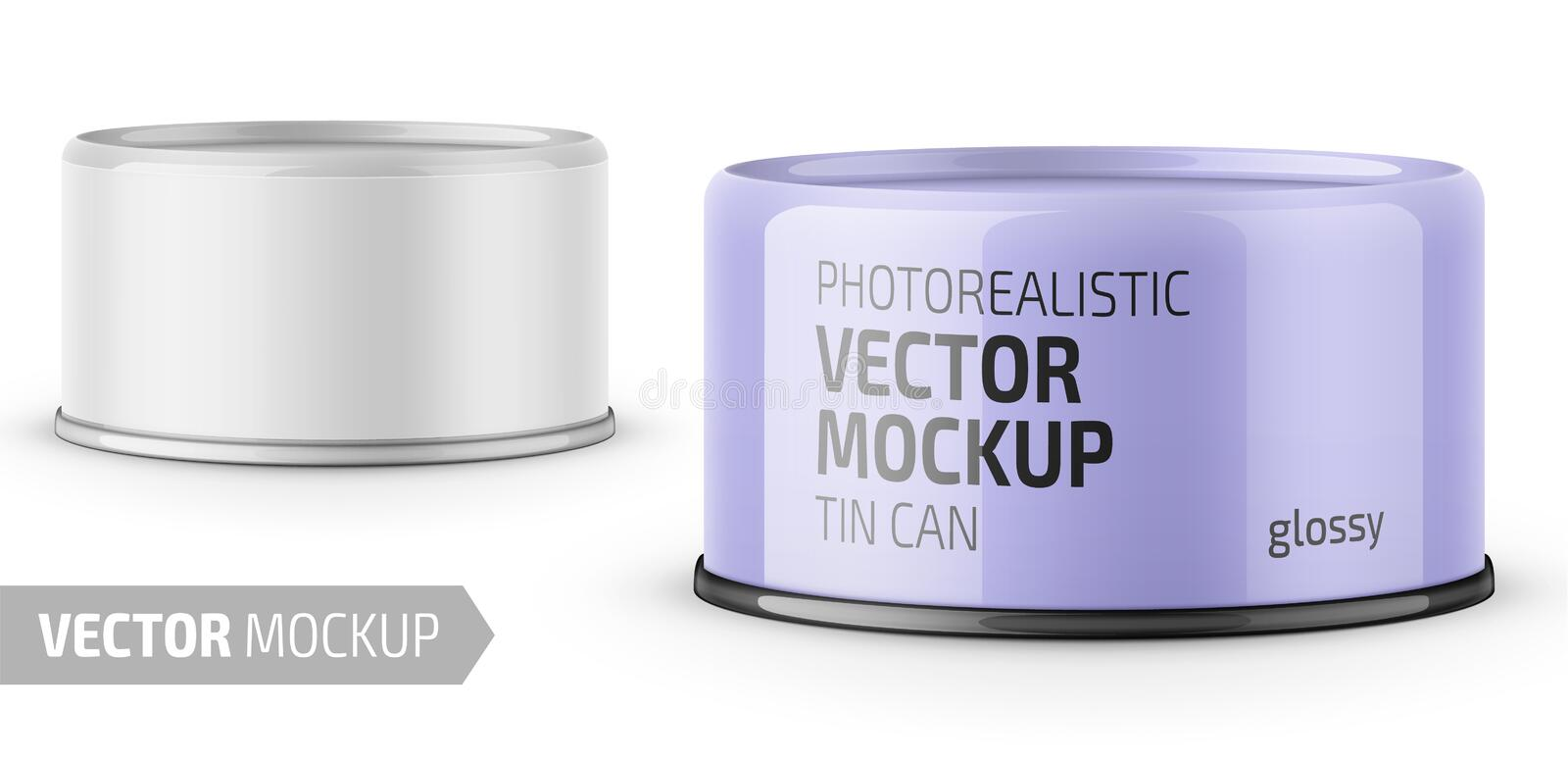 Tuna can with label and sample design. stock illustration