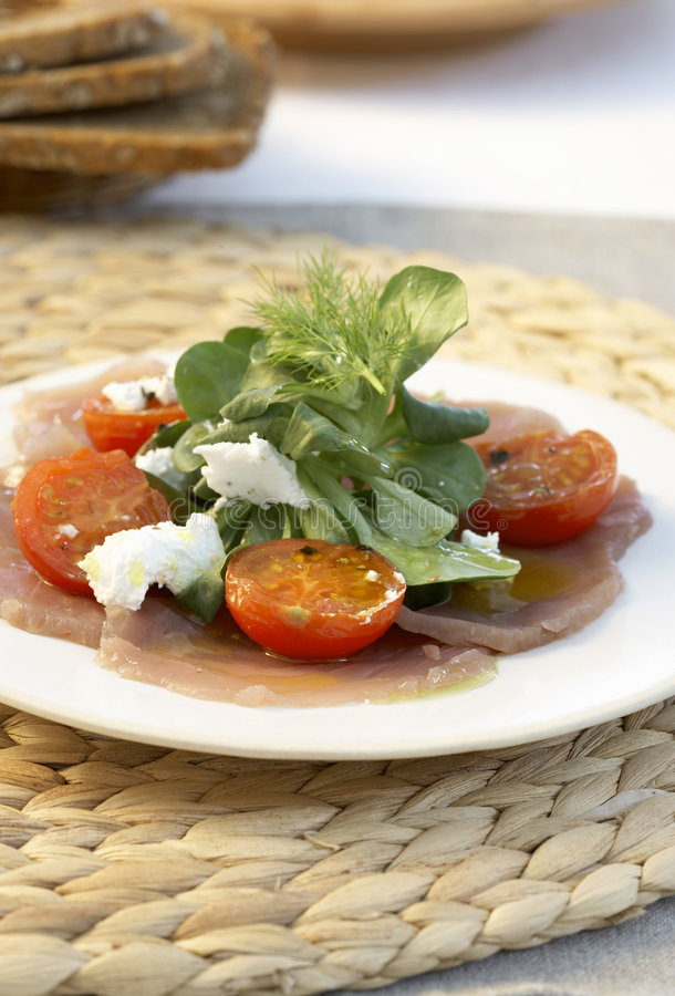 Tuna carpaccio stock images