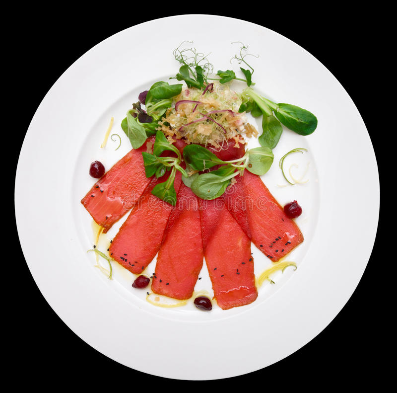 Tuna carpaccio on plate royalty free stock image