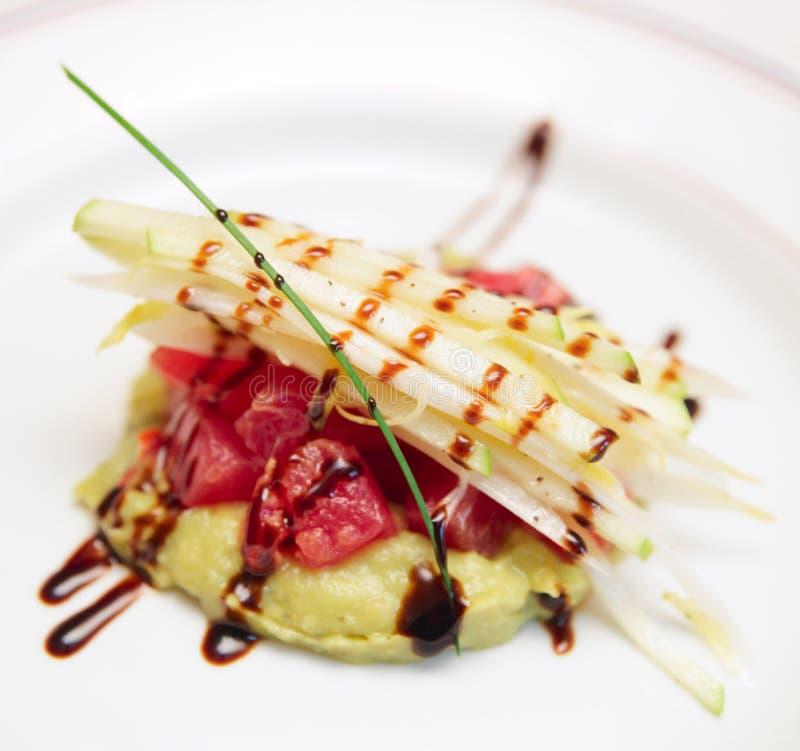 Tuna Carpaccio With Potato Mash Royalty Free Stock Images