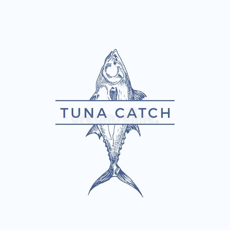 Tuna Catch Abstract Vector Sign, Symbol oder Logo Template Hand gezeichnete Tuna Fish mit nobler Typografie Weinlese-Vektor vektor abbildung