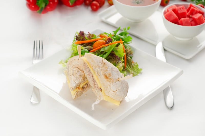 Tuna and cheese sandwich with salad. Tuna fish and cheese sandwich with fresh mixed salad ,watermelon and gazpacho soup on side,with fresh vegetables on stock images