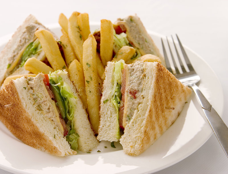 Tuna club sandwich royalty free stock photos