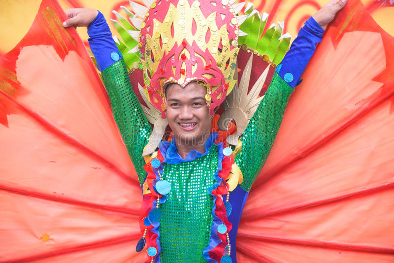 Tuna Festival in General Santos City, The Philippines. General Santos City, The Philippines - September 6, 2015: Participant at the final street parade during royalty free stock photos