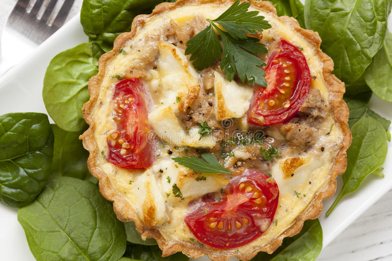 Download Tuna And Feta Tart With Tomatoes And Spinach Stock Image - Image: 34688635