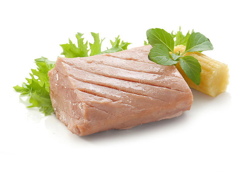 Tuna fillet. Piece of tuna fillet with fresh green lettuce, basil and mini corn stock image