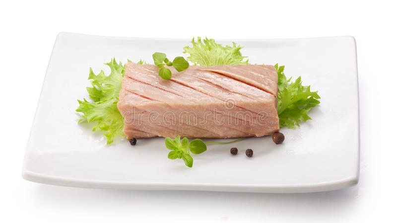 Tuna fillet. Piece of tuna fillet with fresh green lettuce on the white plate royalty free stock photography