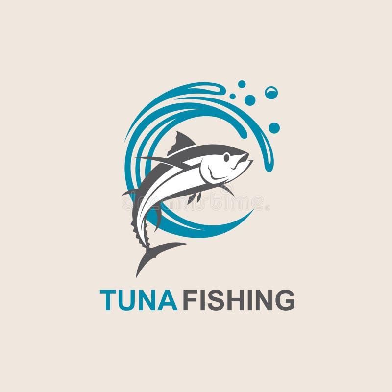 Tuna fish icon. Icon of tuna fish with waves stock illustration