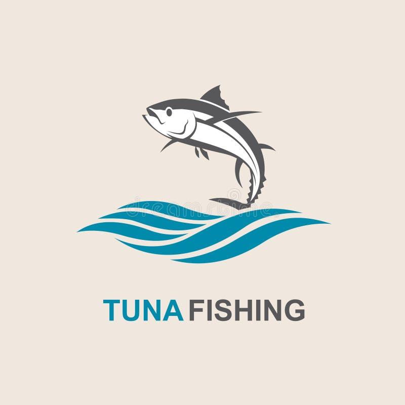 Tuna fish icon. Icon of tuna fish with waves vector illustration